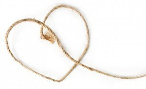 Heart shaped rope on white
