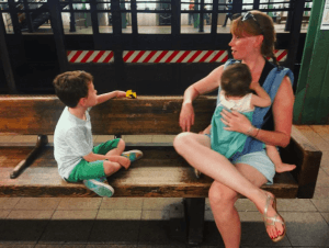 mom and kids subway