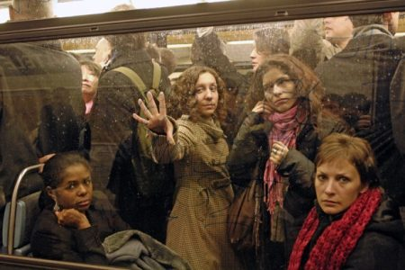 Commuters crowd into the metro at Chatelet station in Paris